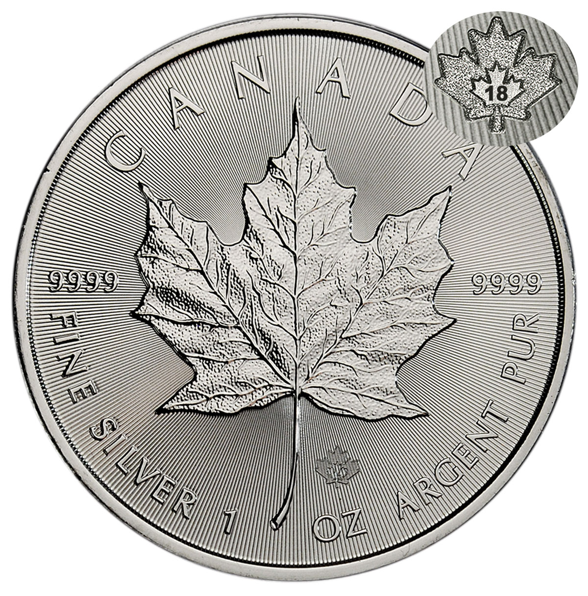 2018 Canada 1 oz Silver Maple Leaf $5 Coin GEM BU