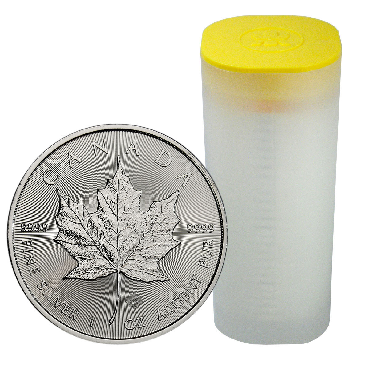 Roll Of 25 2018 Canada 1 Oz Silver Maple Leaf 5 Coins