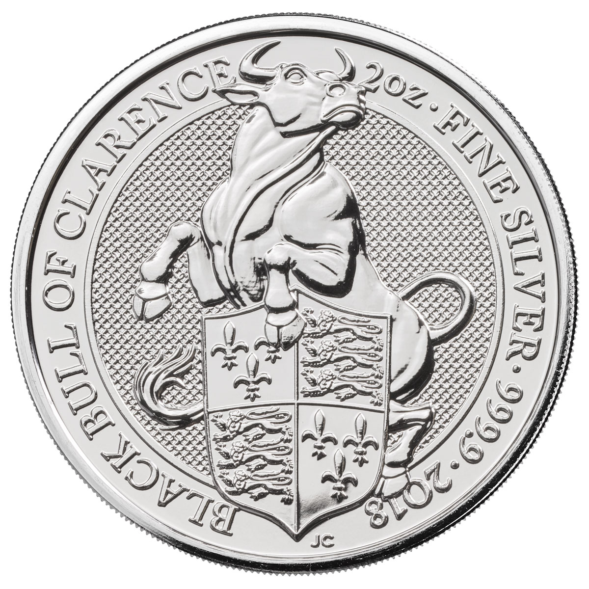 2018 Great Britain 2 oz Silver Queen's Beasts - The Black Bull of Clarence £5 Coin GEM BU