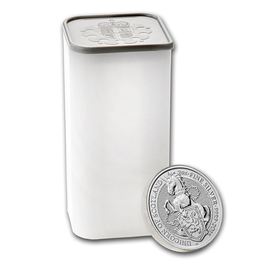 Roll of 10 - 2018 Great Britain 2 oz Silver Queen's Beasts - Unicorn of Scotland £5 Coins GEM BU