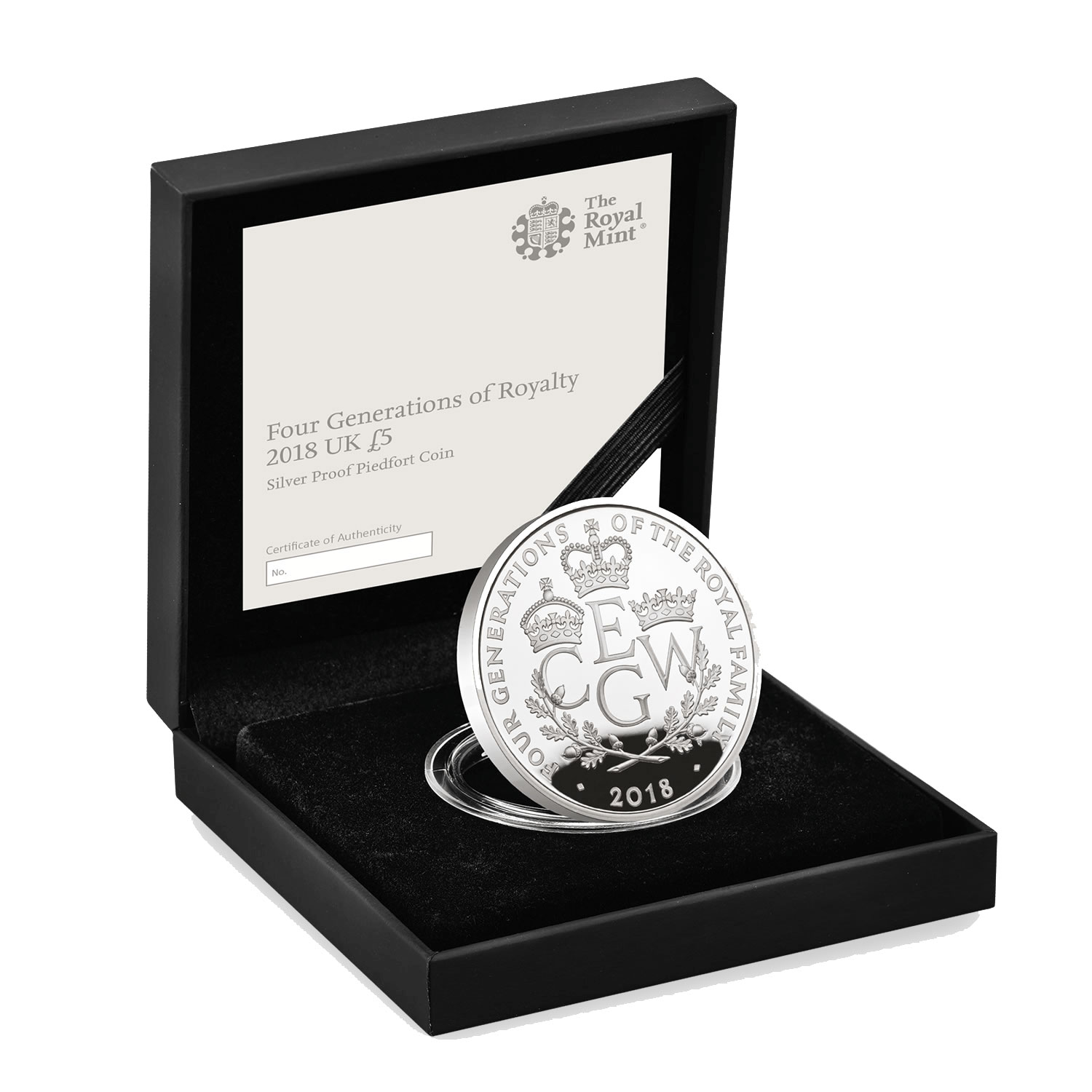 The Royal Birth 2015 United Kingdom 5 Silver Proof Coin: 2018 Great Britain Four Generations Of Royalty Piedfort