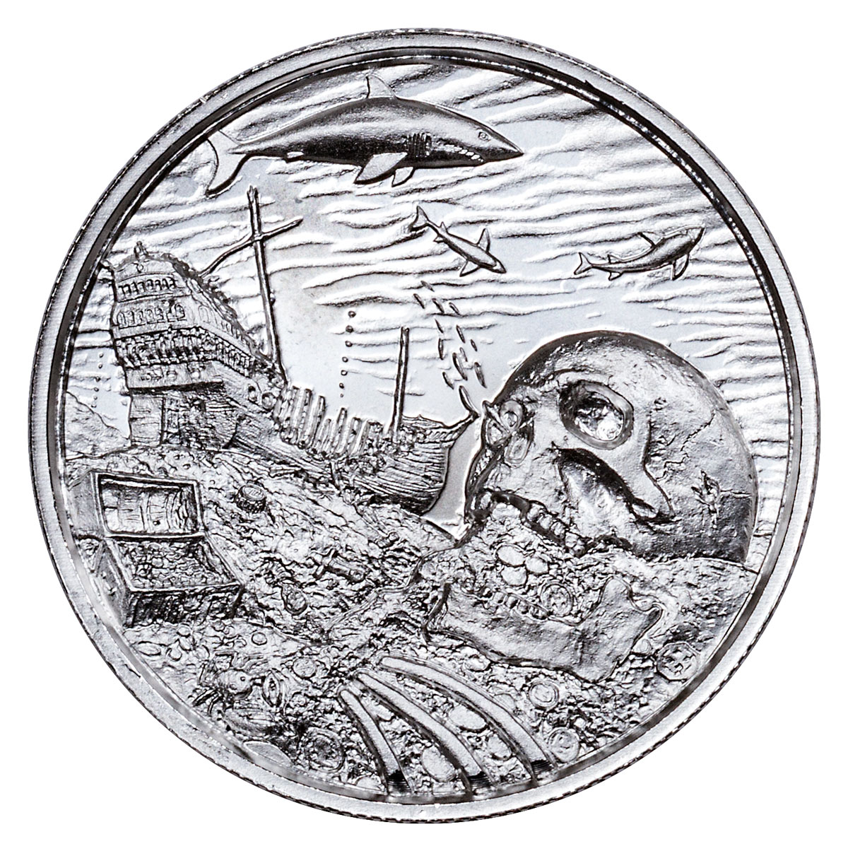 2018 Privateer - Davy Jones' Locker Ultra High Relief 2 oz Silver Round GEM BU