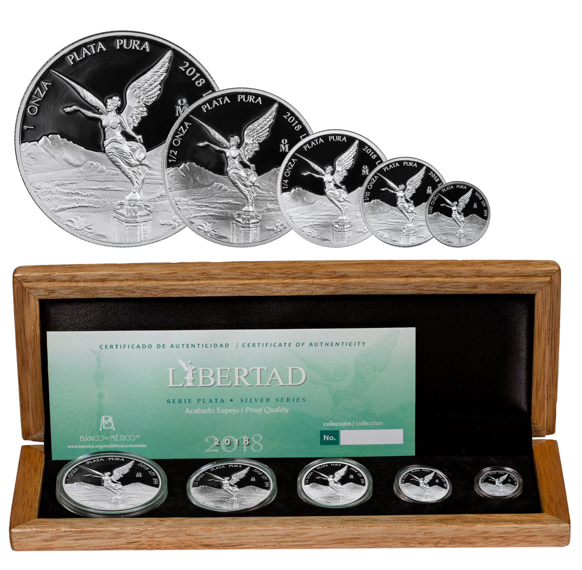 2018-Mo Mexico Silver Libertad - 5-Coin Set Proof Coin GEM Proof OGP