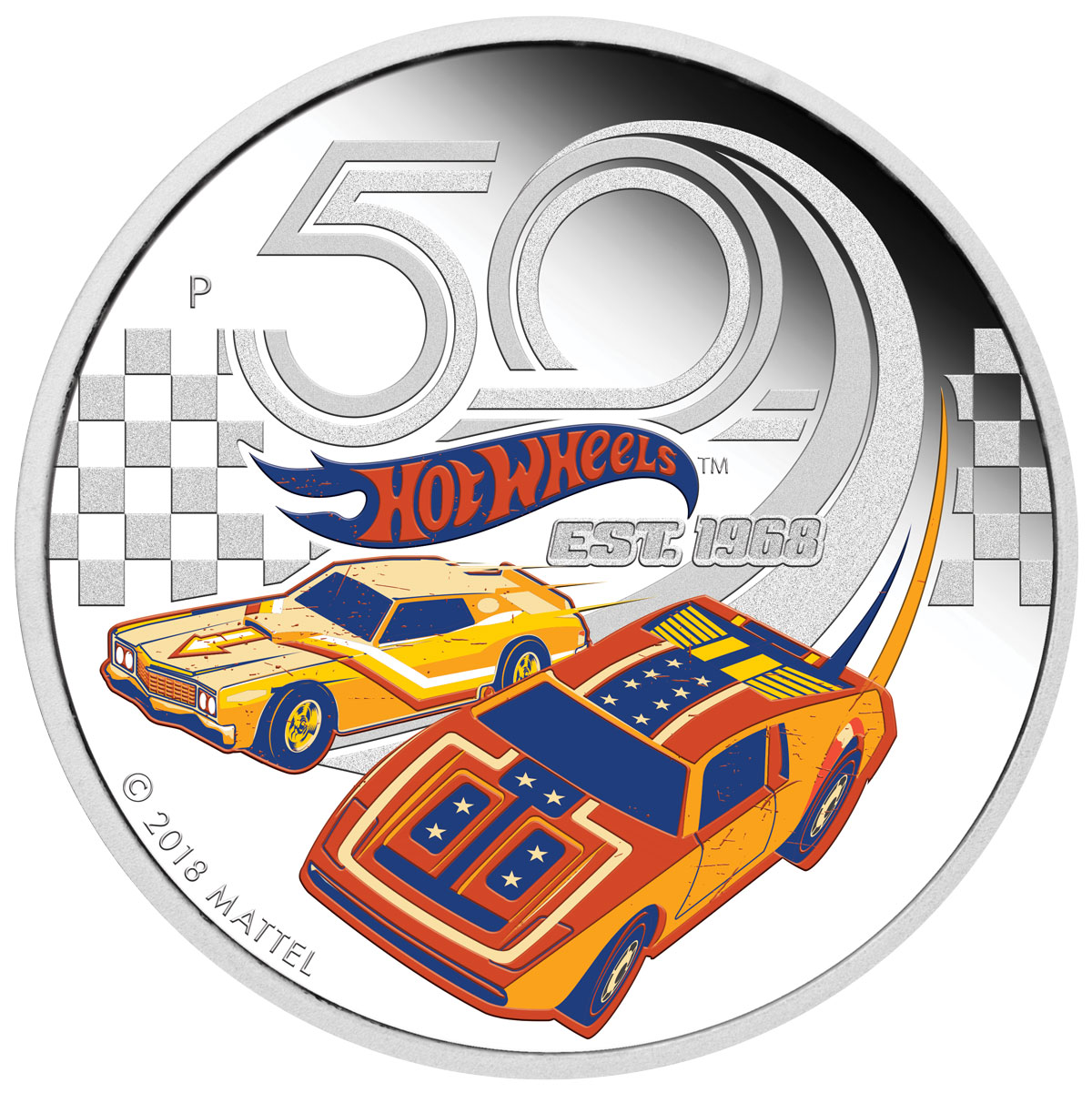 2018-P Tuvalu Hot Wheels 50th Anniversary 1 oz Silver Colorized Proof $1 Coin GEM Proof OGP
