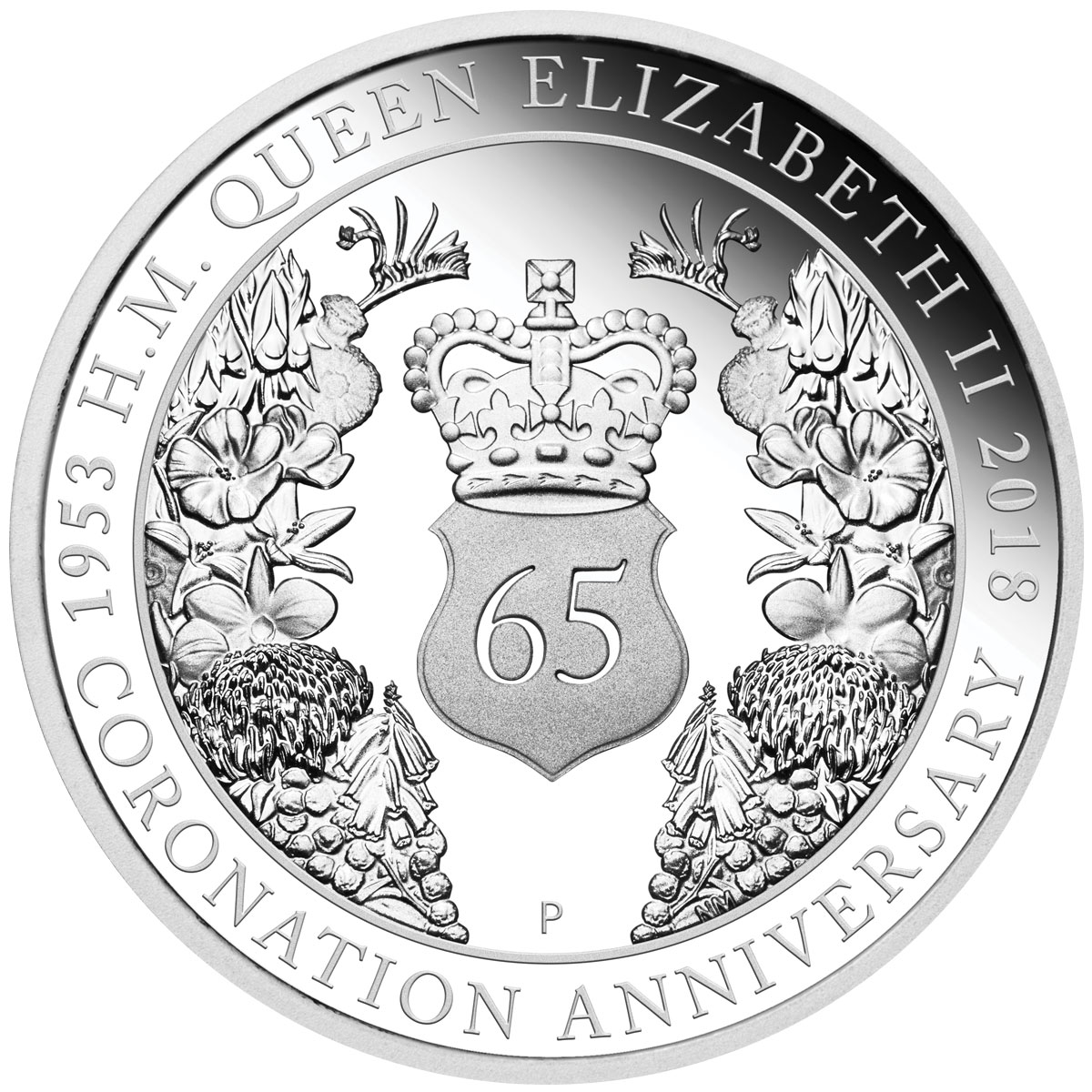 2018-P Australia Queen Elizabeth II Sapphire Coronation 1 oz Silver Proof $1 Coin GEM Proof