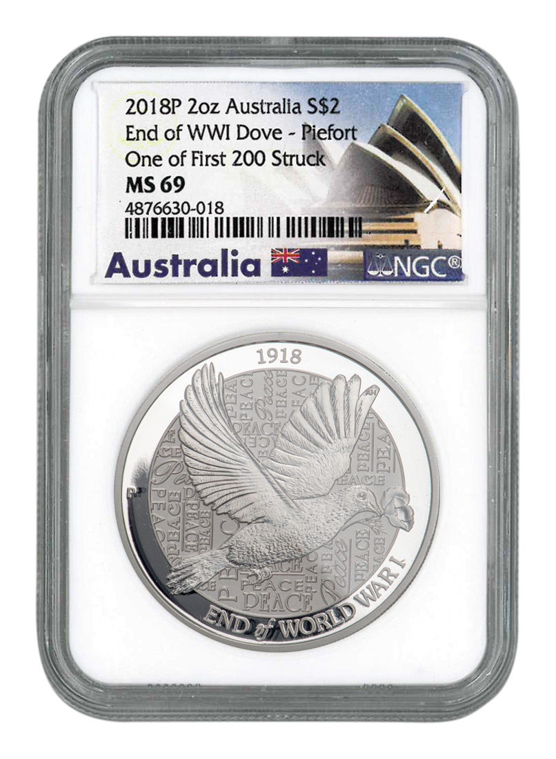 2018-P Australia 2 oz Silver Dove $2 Piedfort Coin NGC MS69 One of First 200 Struck Exclusive Australia Label