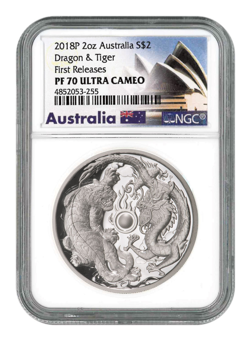 2018-P Australia 2 oz High Relief Silver Tiger & Dragon Proof $2 Coin NGC PF70 UC FR Australia Opera House Label