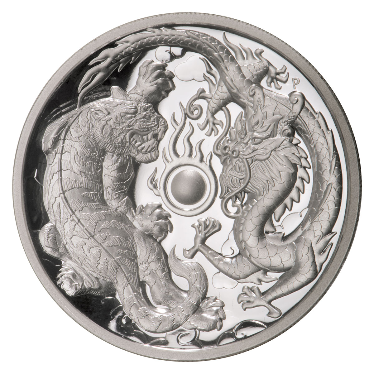 2018-P Australia 2 oz High Relief Silver Tiger & Dragon Proof $2 Coin GEM Proof
