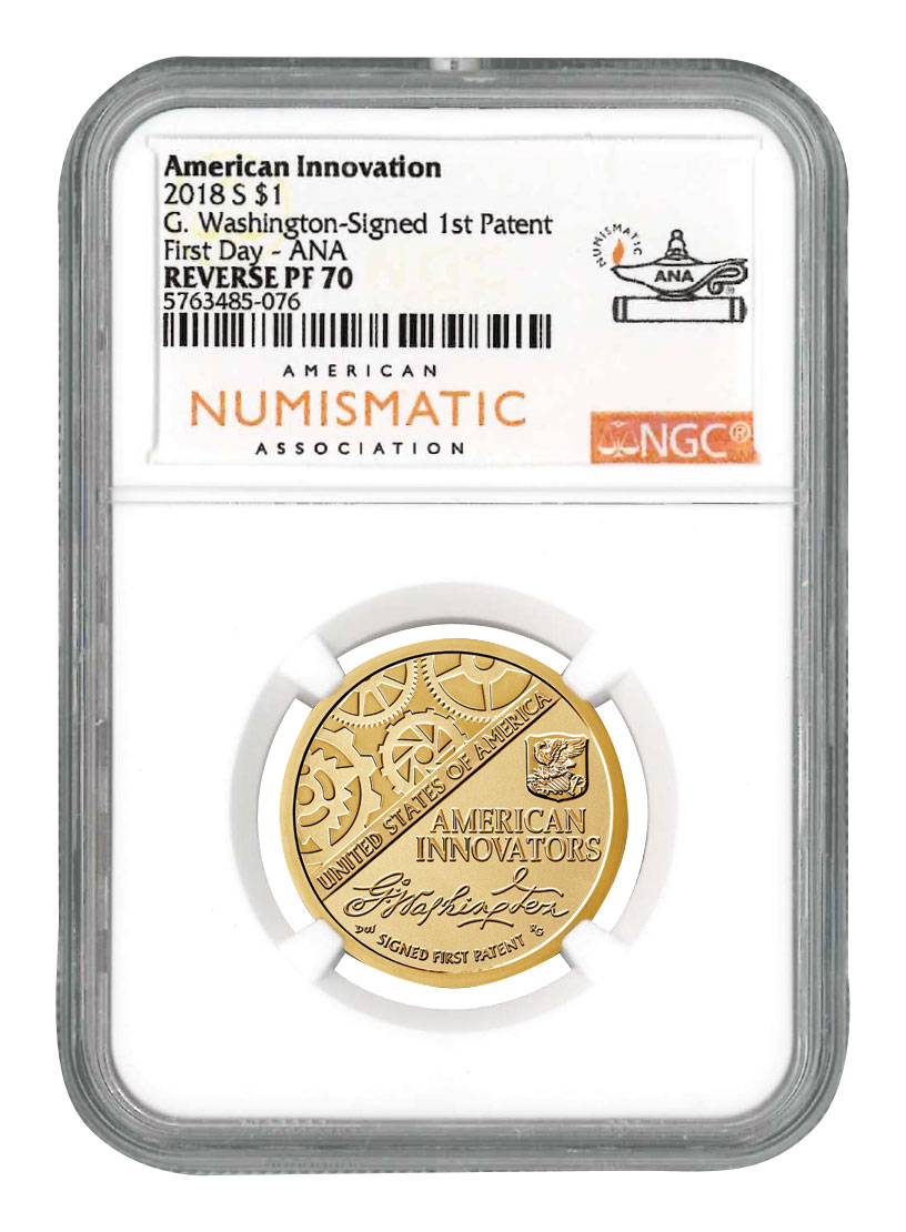 2018-S American Innovation Dollar Reverse Proof Coin NGC PF70 First Day ANA Label