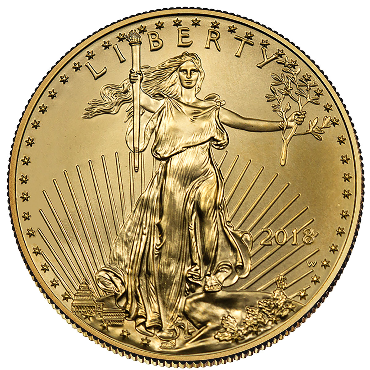 2018-W 1 oz Burnished Gold American Eagle $50 GEM BU OGP