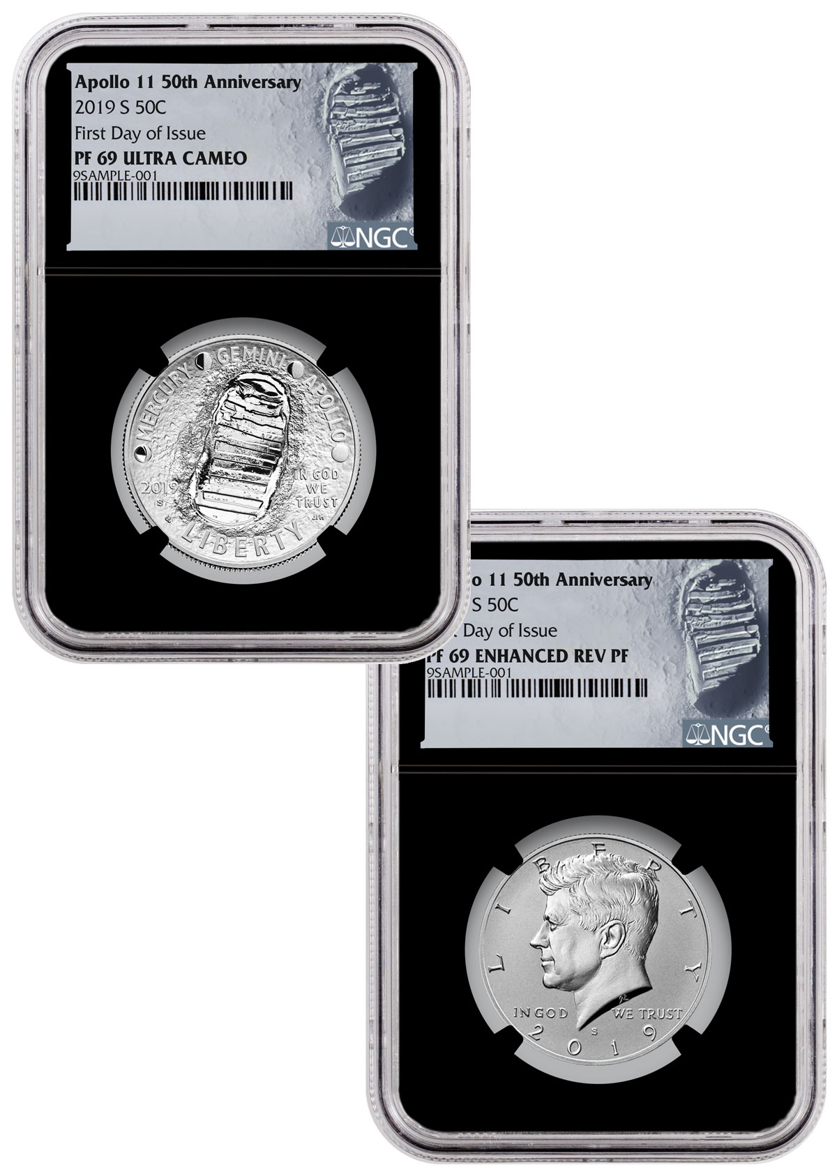 2019 S 50C PROOF APOLLO 11 HALF DOLLAR PCGS PR69 FIRST DAY OF ISSUE FDI LABEL