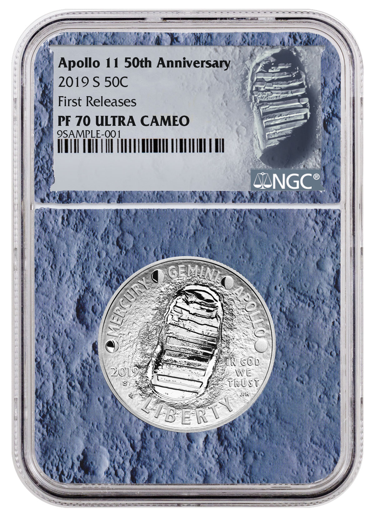 2019 S Apollo 11 50th Ann Commem Clad Half Dollar NGC PF70 FR Moon Core SKU56538