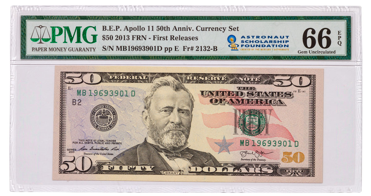 2019 Apollo 11 $50 Note From 50th Anniversary Currency Set PMG 66 FR Astronaut Scholarship Foundation Label