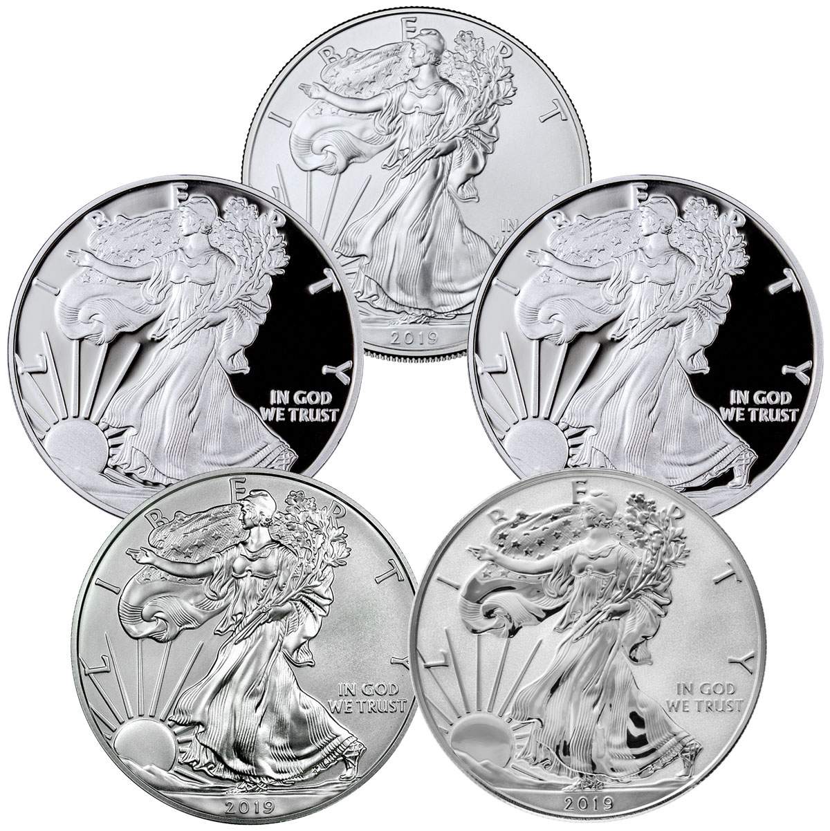 5-Piece Set - 2019 $1 1 oz. American Silver Eagle BU + Proof Coins in Display Box