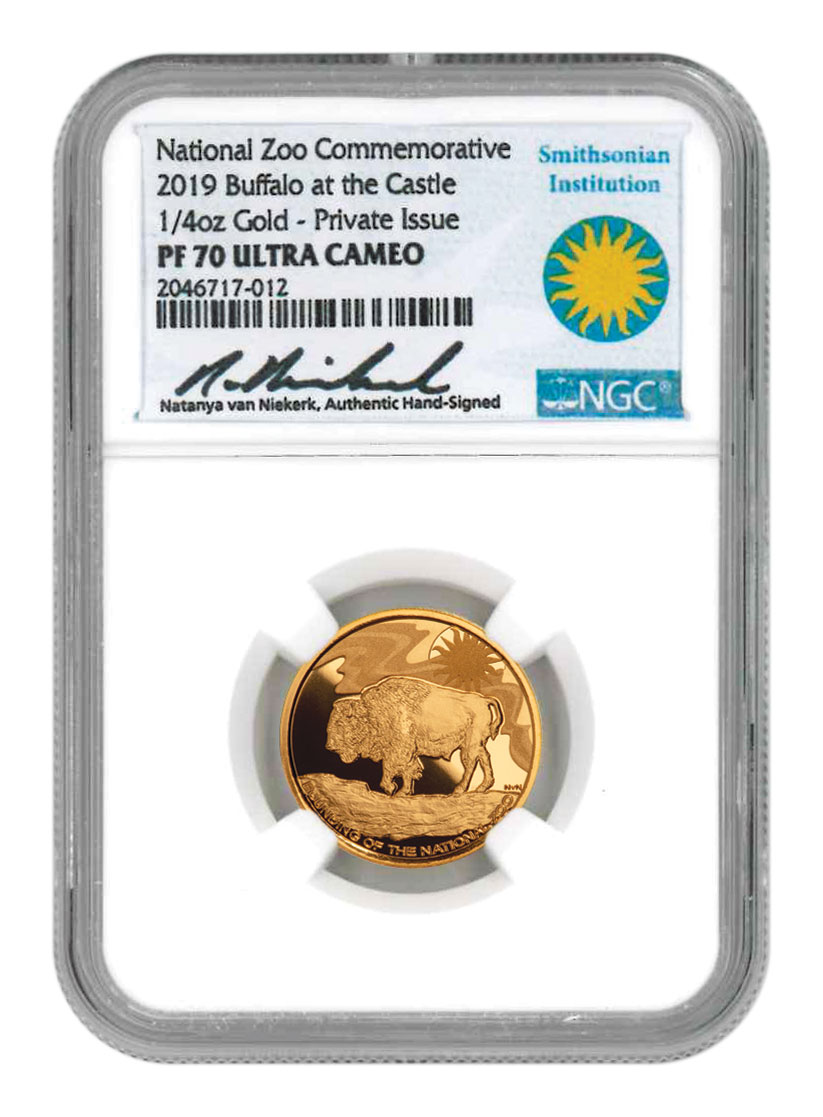 2019 Smithsonian Zoo Buffalo 1/4 oz Gold Medal Scarce and Unique Coin Division NGC PF70 UC