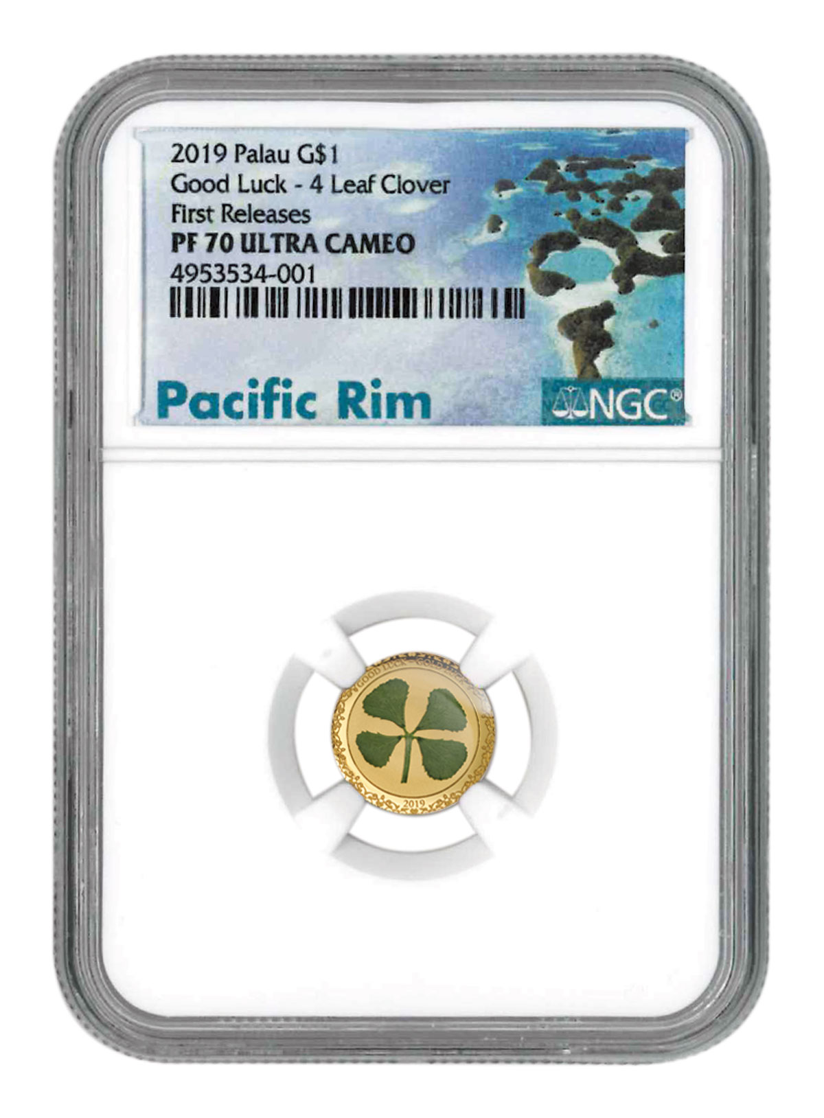 2019 Palau Four Leaf Clover 1 g Gold Proof $1 Coin NGC PF70 UC FR SKU55176