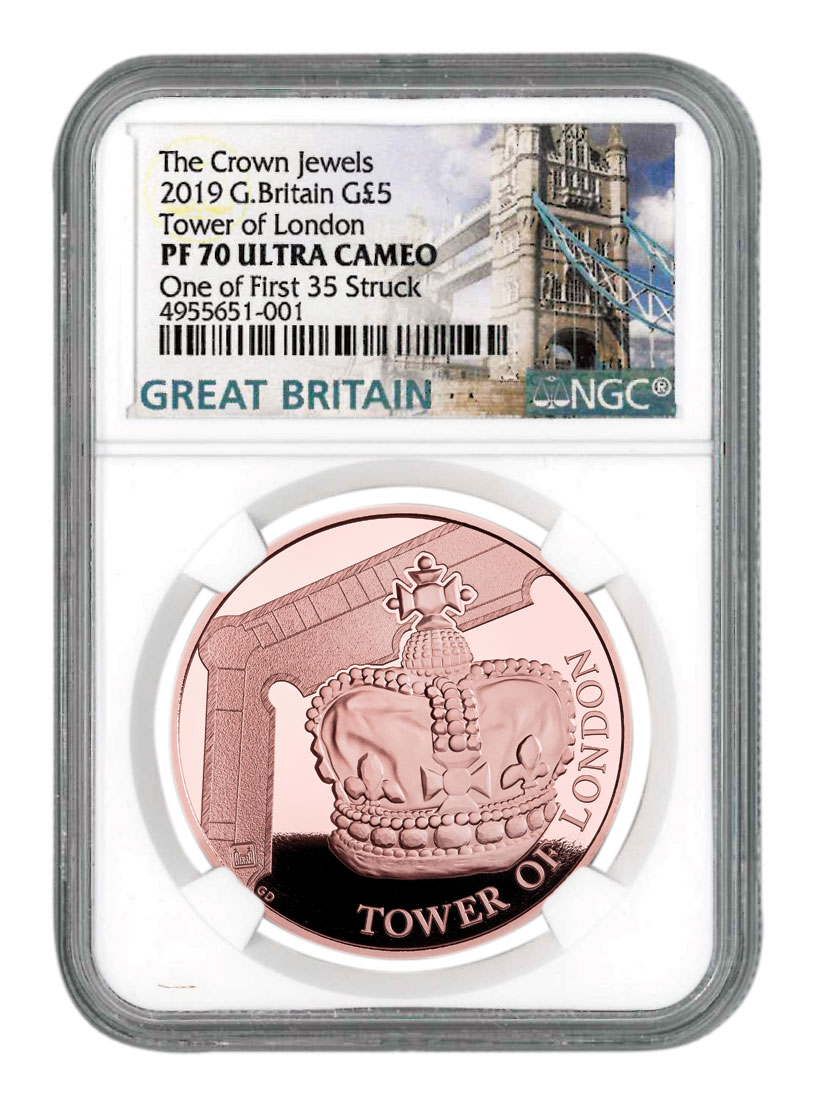 2019 Great Britain Tower of London - Crown Jewels Piedfort Gold Proof £5 Coin Scarce and Unique Coin Division NGC PF70 UC One of First 35 Struck