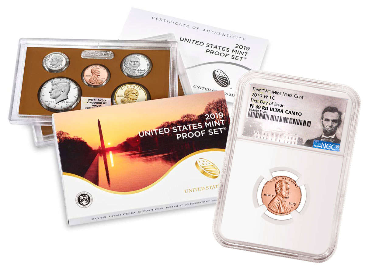 2019-S U.S. Proof Coin Set NGC GEM Proof FDI + 2019-W Lincoln Cent PF69 UC RD FDI