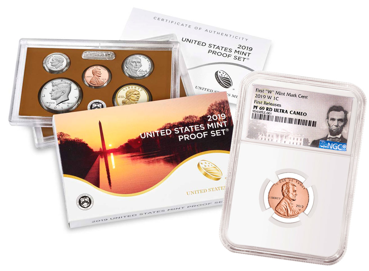 2019-S U.S. Proof Coin Set + 2019-W Lincoln Cent PF69 RD FR