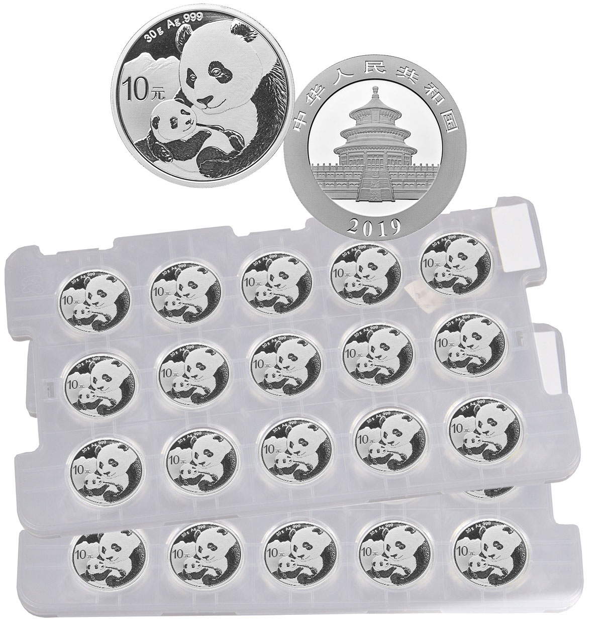 Uncut Sheet of 15 - 2019 China 30 g Silver Panda ¥10 Coins GEM BU