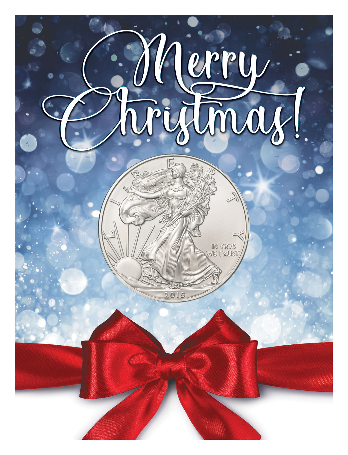 2018 $1 American Silver Eagle Gift Holder Merry Christmas Design