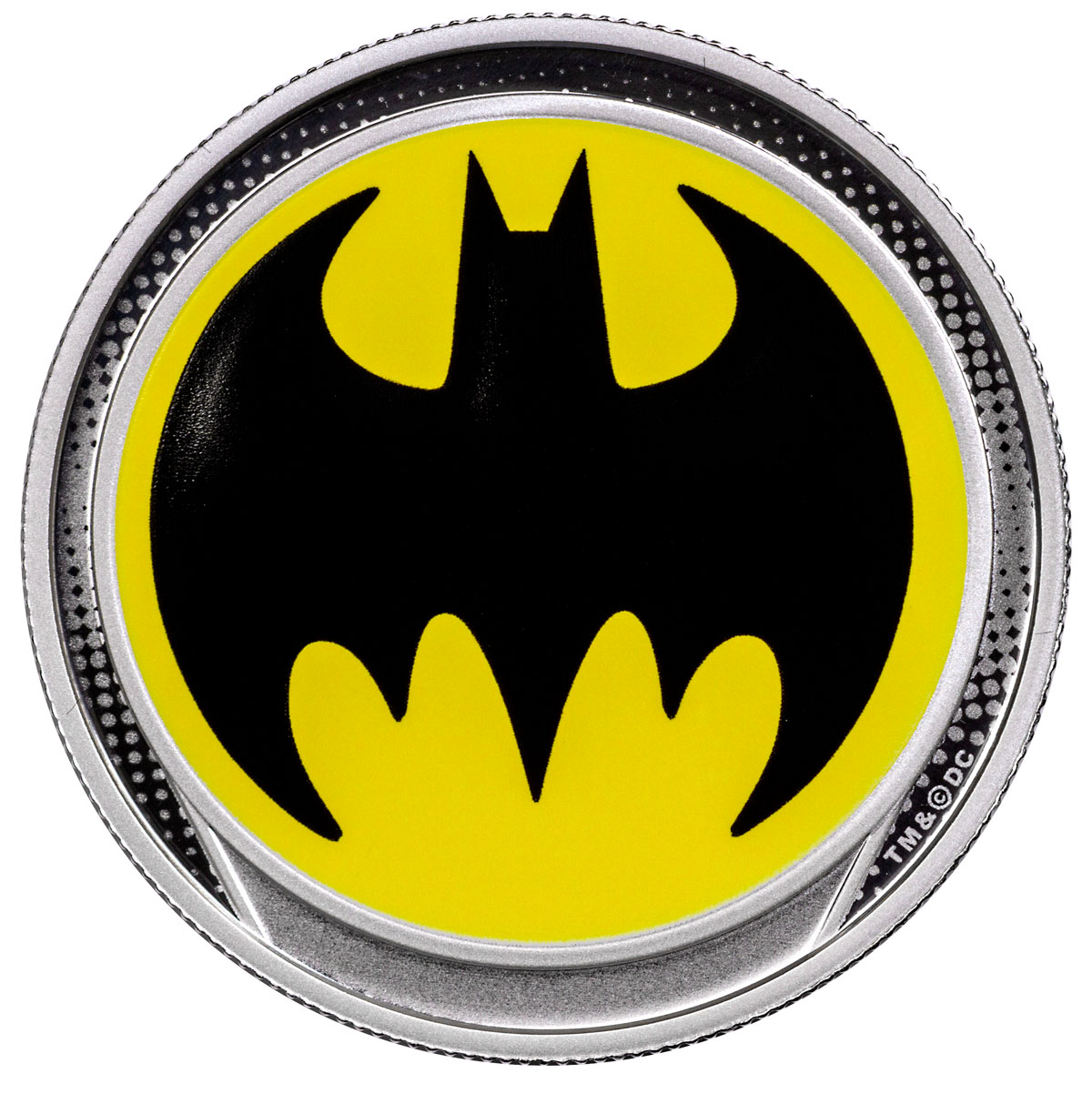 2019 Barbados Bat Signal Silver Glow in the Dark Colorized Proof $1 Coin GEM Proof OGP