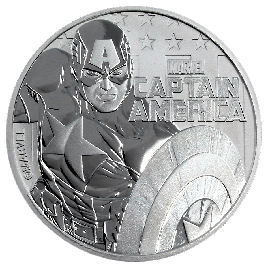 2019 Tuvalu Captain America 1 oz Silver Marvel Series $1 Coin GEM BU