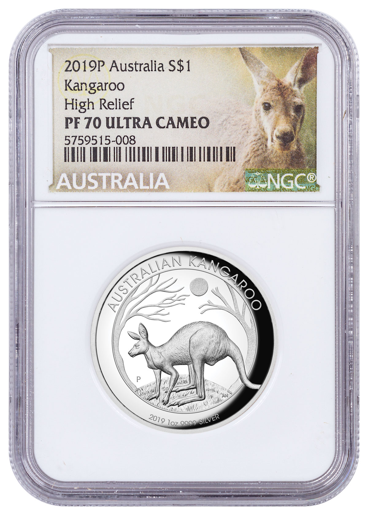 2018 P Australia HIGH RELIEF 1oz Silver Kangaroo $1 Coin NGC PF69 ER New Label