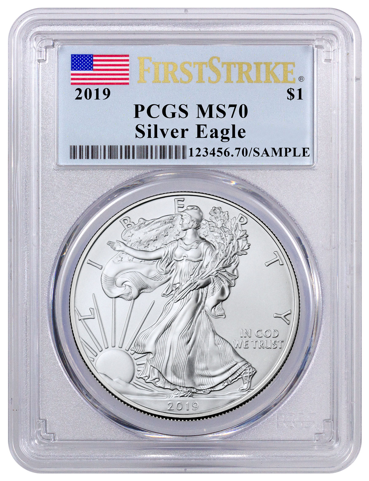 2019 1oz Silver Eagle PCGS MS70 Made In USA Label