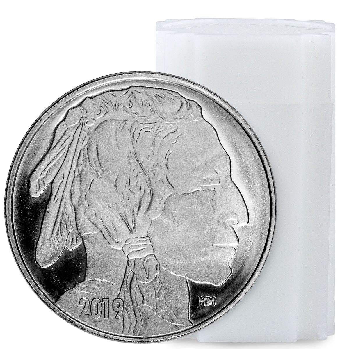 Roll of 20 - 2019 Highland Mint Buffalo Nickel Design Silver Round GEM BU
