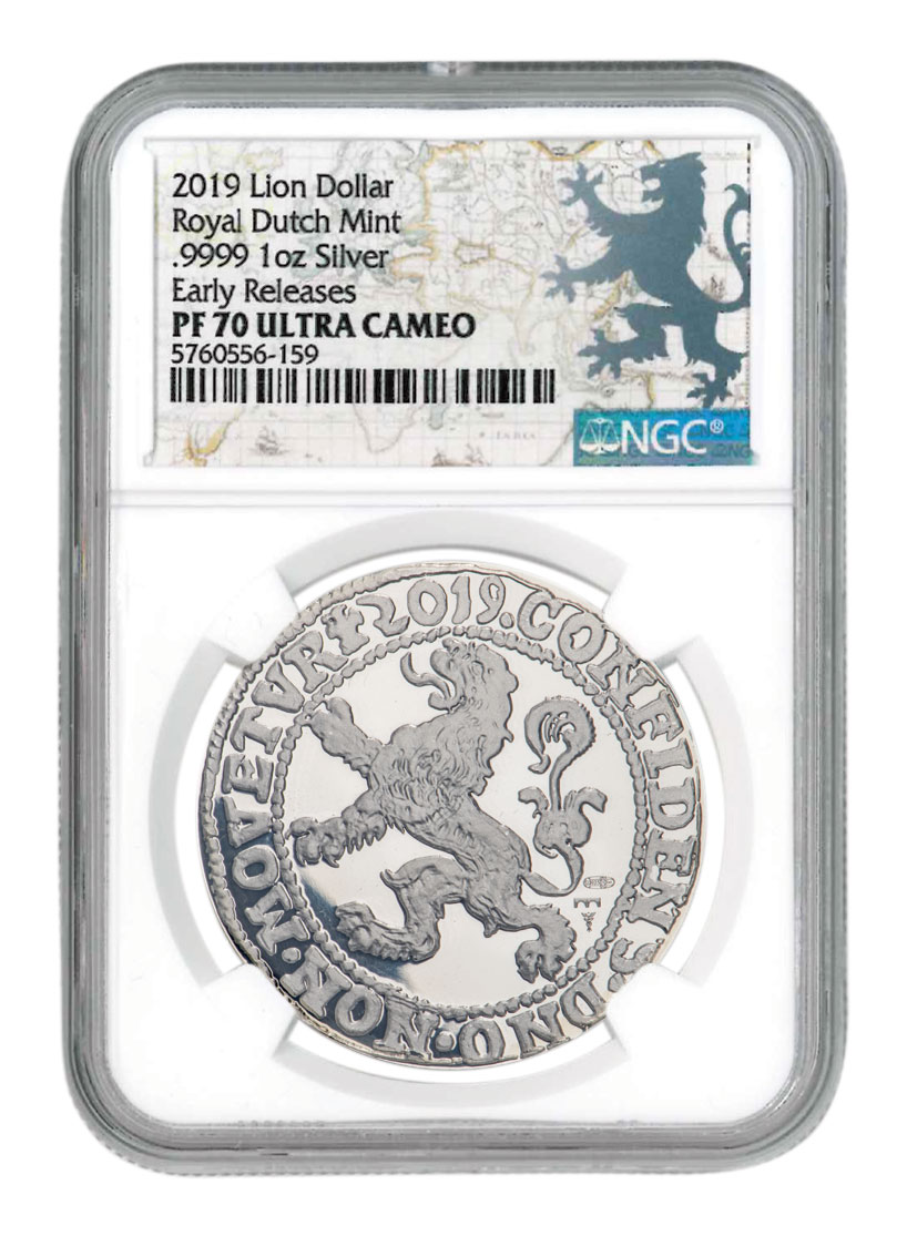 2-Piece Set - Silver Lion Dollar NGC PF70 UC ER with COA, and Gold Foil Map Lion Dollar Label