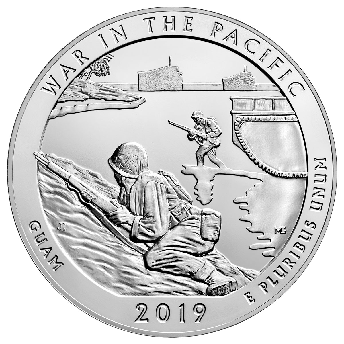 2019 25C 5 oz. Silver ATB War in the Pacific National Historic Park (Guam) Coin GEM BU
