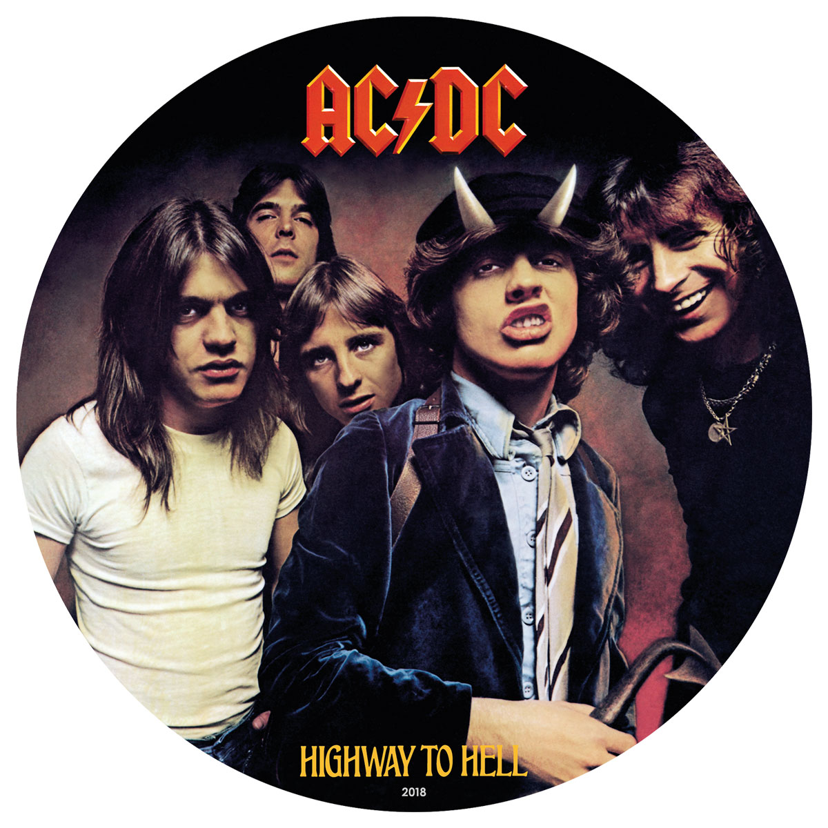 2019 Cook Islands AC/DC Record Shaped Foil - Highway to Hell 1/2 oz Silver Colorized Prooflike $2 Coin GEM Prooflike in Display Case