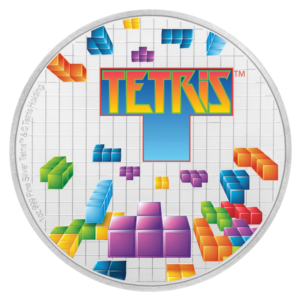 2019 Niue Tetris 35th Anniversary 1 oz Silver Colorized Proof $2 Coin GEM Proof OGP