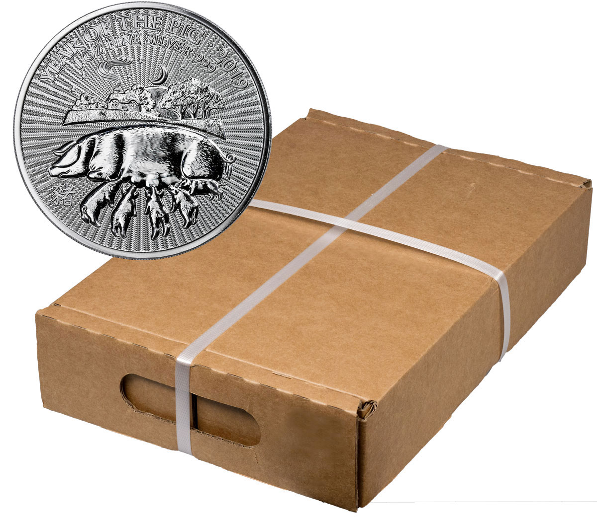 Monster Box of 100 - 2019 Great Britain Year of the Pig 1 oz Silver Lunar £2 Coins GEM BU