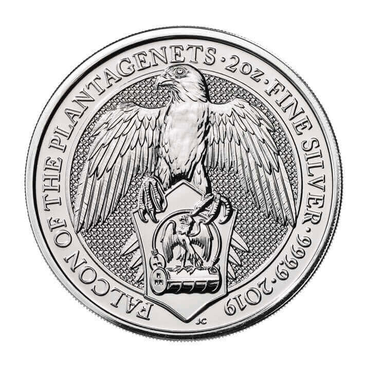 2019 Great Britain 2 oz Silver Queen's Beasts - Falcon of the Plantagenets £5 Coin GEM BU