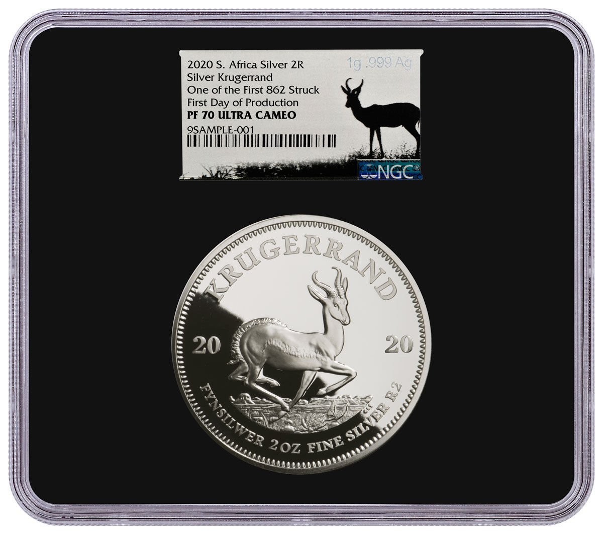 2020 South Africa 2 oz Silver Krugerrand Proof R2 Coin Scarce and Unique Coin Division NGC PF70 UC One of First 862 Struck First Day of Production Black Core Holder Silver Label