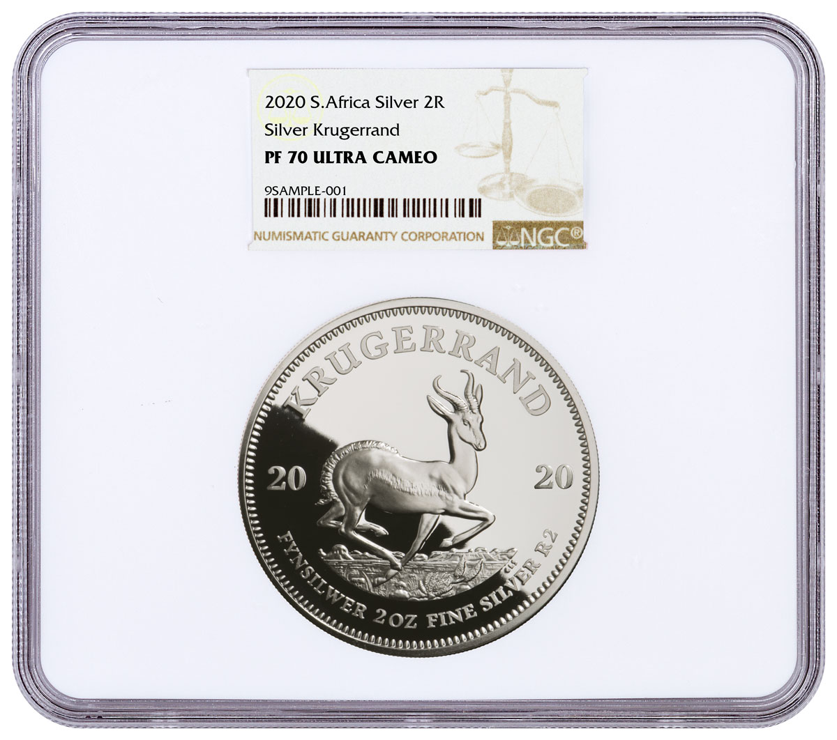 2020 South Africa 2 oz Silver Krugerrand Proof R2 Coin NGC PF70 UC Brown Label