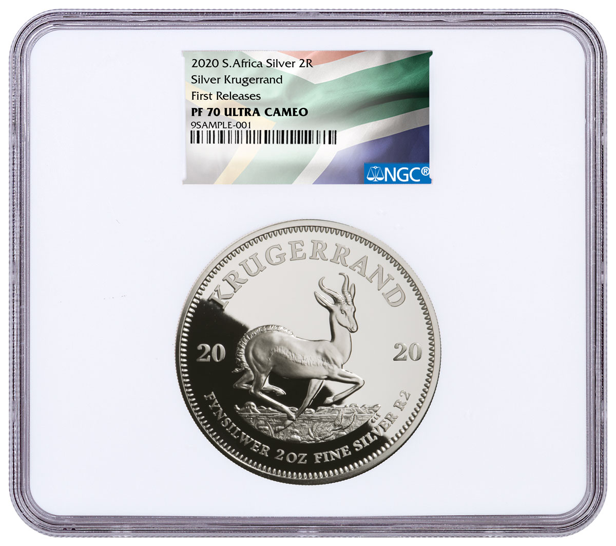 2020 South Africa 2 oz Silver Krugerrand Proof R2 Coin NGC PF70 UC FR South African Flag Label