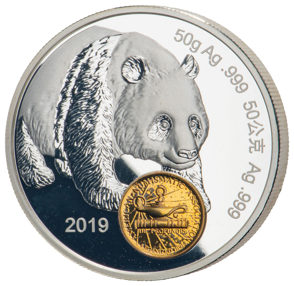2019 China Chicago World's Fair of Money Show Panda 50 g Silver Proof Medal GEM Proof