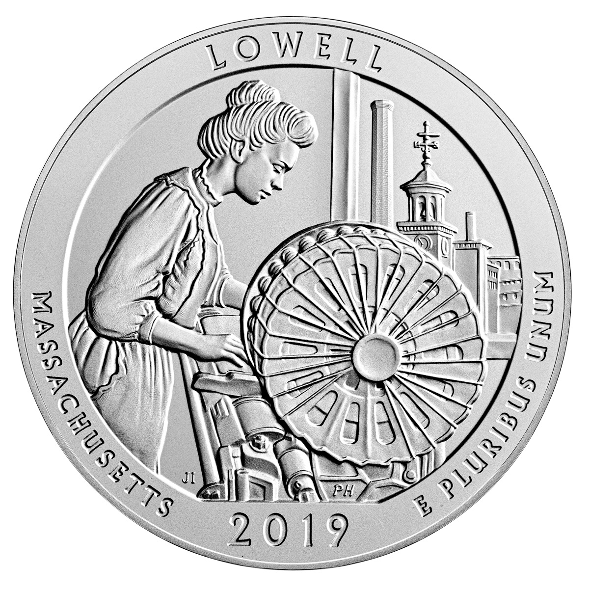 2019-P Lowell National Historic Park 5 oz. Silver America the Beautiful Specimen Coin OGP