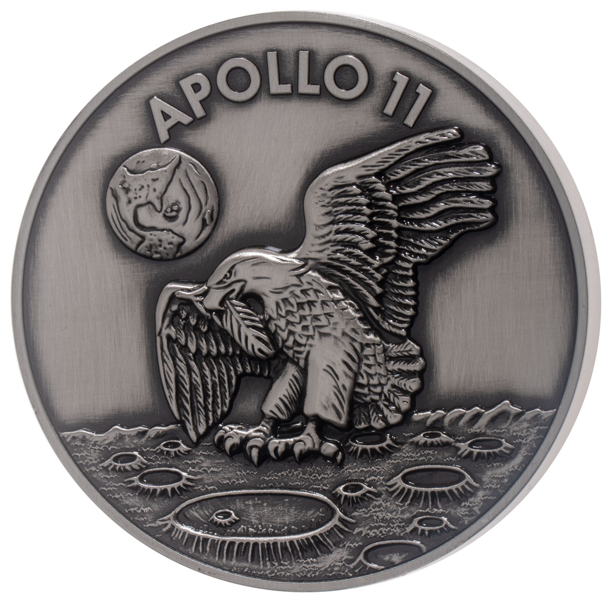 1969-2019 Apollo 11 50th Anniversary Robbins Medals 5 oz Silver with Space Flown Alloy Antiqued Medal