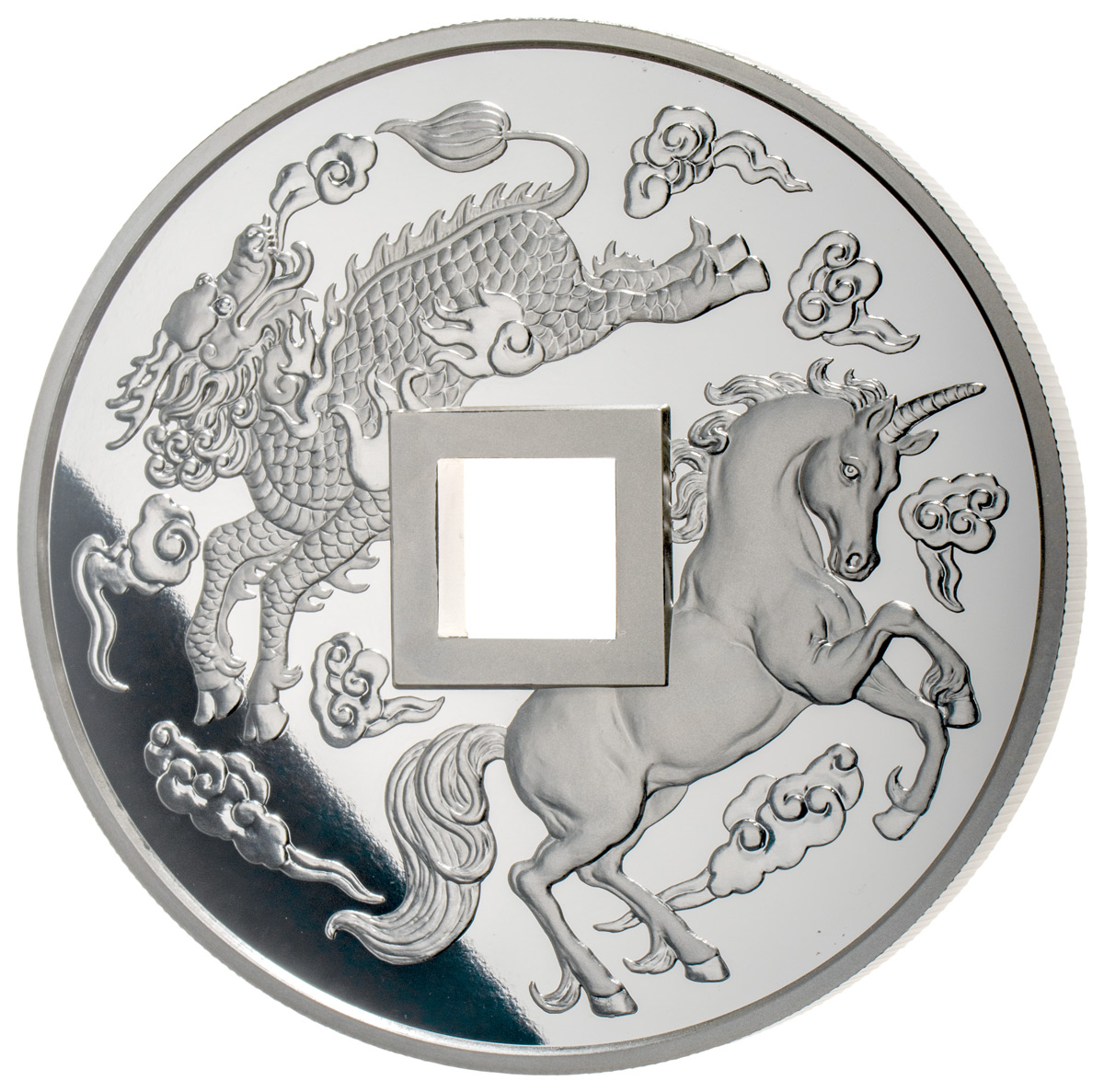 2019-(S) China Unicorn Vault Protector 25th Anniversary 5 oz Silver Proof Medal GEM Proof