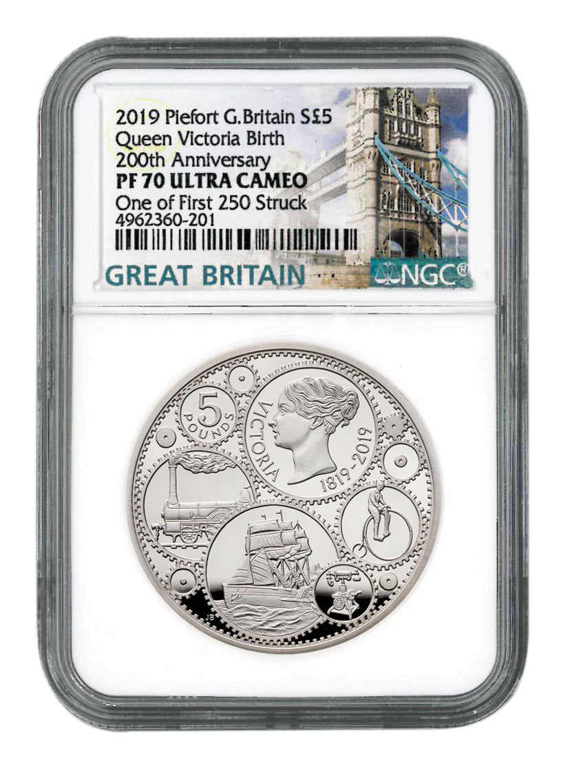 2019 Great Britain 200 Year Commemorative - Queen Victoria 1.82 oz Piedfort Silver Proof £5 Coin Scarce and Unique Coin Division NGC PF70 UC One of First 250 Struck With COA & Storybook Tower Bridge Label