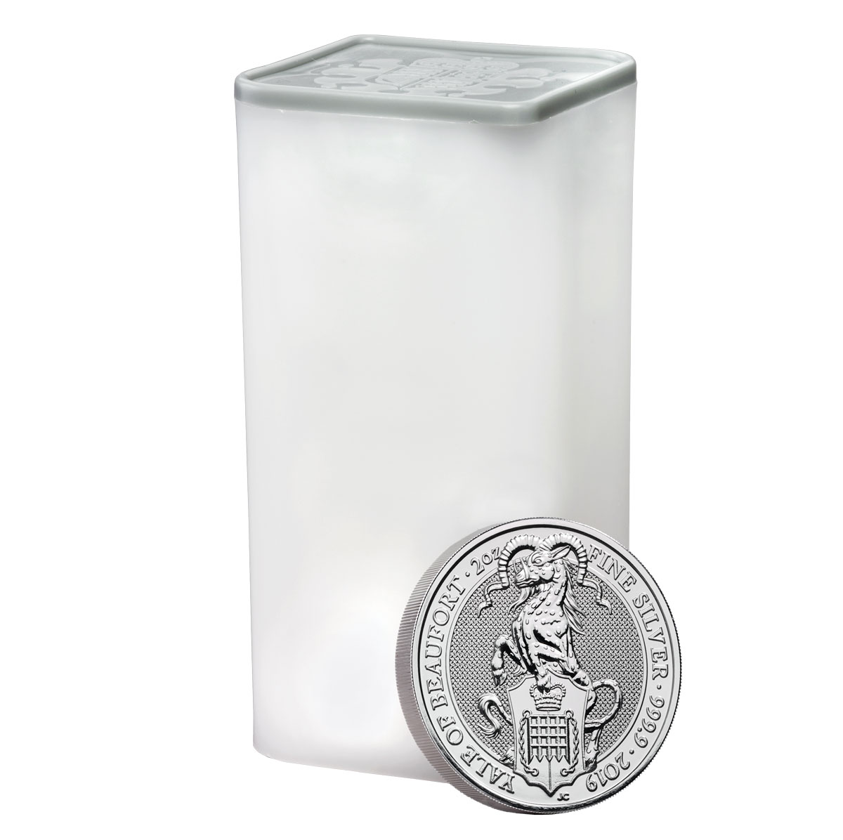 Roll of 10 - 2019 Great Britain 2 oz Silver Queen's Beasts - The Yale of Beaufort £5 Coins GEM BU