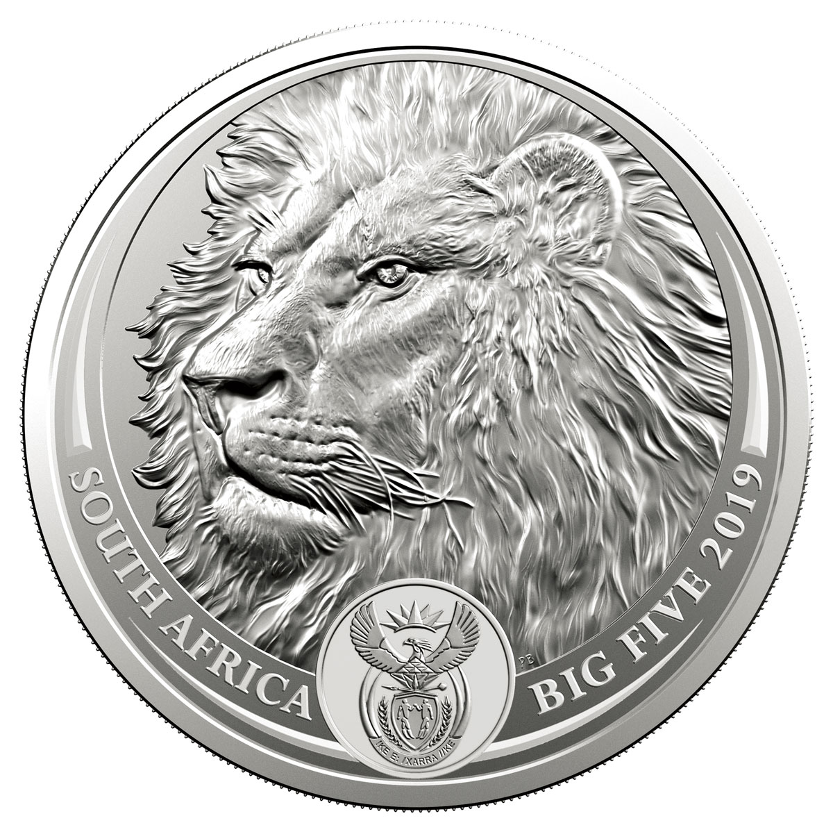 2019 South Africa 1 oz Silver R5 Big 5 Lion GEM BU In Blister Pack