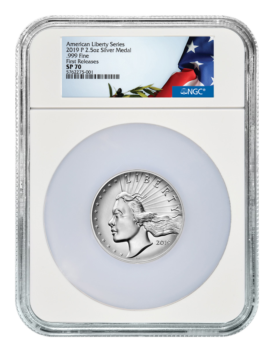 2019-P American Liberty High Relief Medal 2.50 oz Silver Medal NGC SP70 FR American Liberty Flag Label