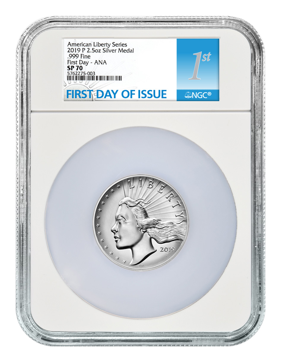 2019-P American Liberty High Relief Medal 2.50 oz Silver Medal NGC SP70 FDI Chicago ANA Show Releases