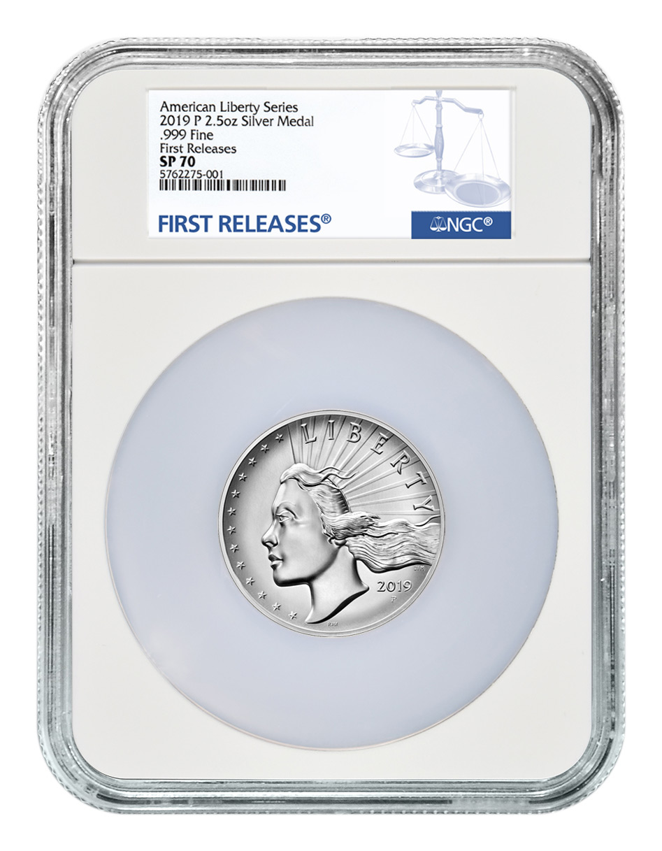 2019-P American Liberty High Relief Medal 2.50 oz Silver Medal NGC SP70 FR