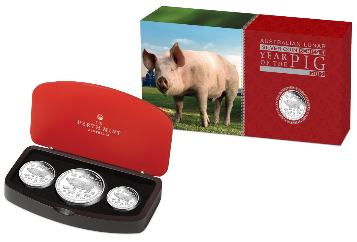 2019-P Australia Year of the Pig 3-Coin Set Silver Lunar (Series 2) Coin GEM Proof